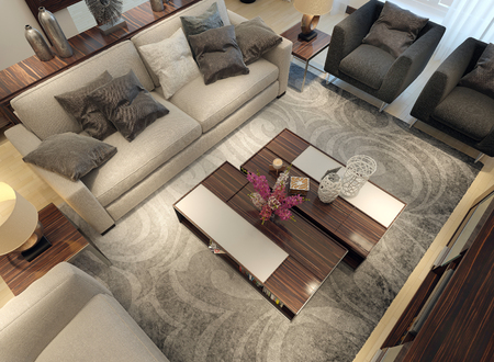 room decor: Living room modern style. 3D images Stock Photo