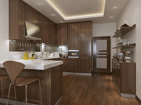Keuken neoklassieke stijl, 3D-beelden Stockfoto - 47512798