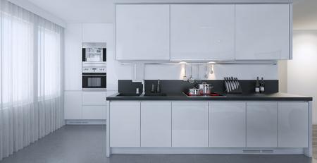 Cuisine blanche style contemporain, les images 3D Banque d'images - 47512801