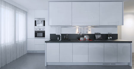 White kitchen contemporary style, 3d images Stock Photo