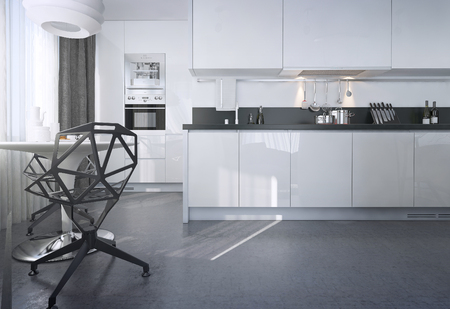 Dining kitchen, Scandinavian style, 3d images