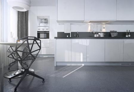 Salle à manger cuisine, style scandinave, des images 3D Banque d'images - 47512802