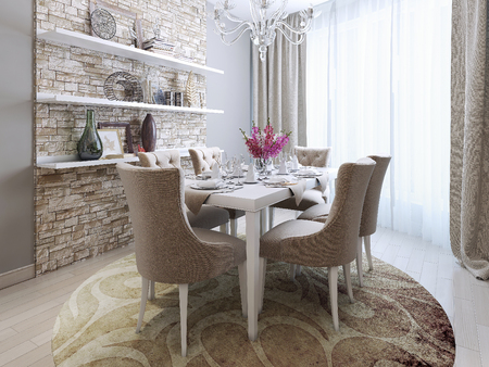 dining room in neoclassical style, 3d images