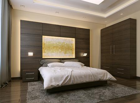 Slaapkamer moderne stijl, 3D-beelden