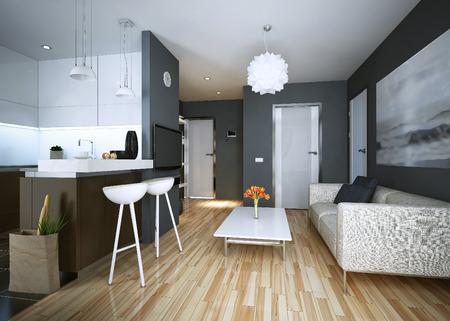 아파트 연구 현대적인 스타일. 3D 영상
