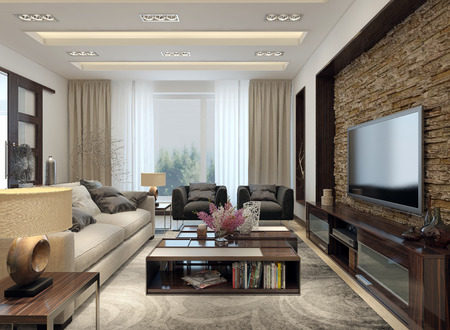 Living room modern style. 3D images Stock Photo