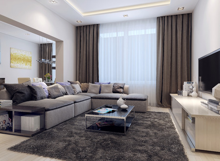 recessed: Living room contemporary style, 3D images