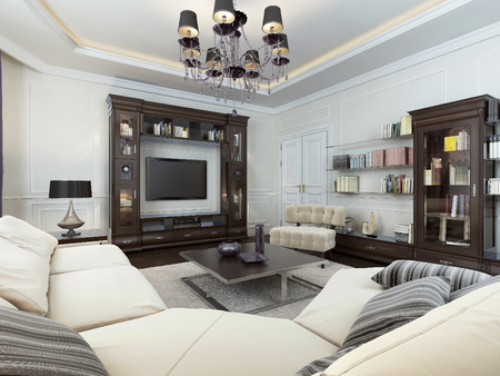 recessed: Living room in Art Deco style, 3d images Stock Photo