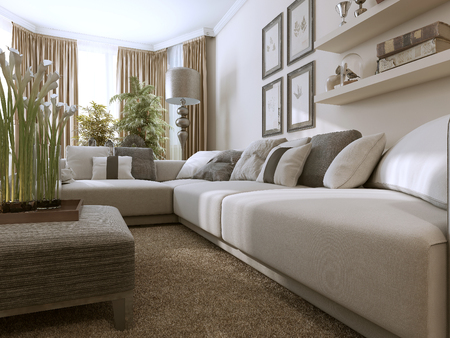 Living room in Contemporary style. 3D images