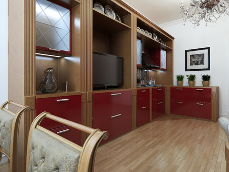red metal: Kitchen in the Art Deco style, 3d images