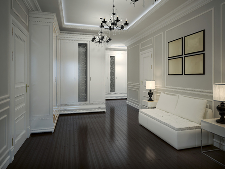 Interior Hall in Art Deco style, 3d images Stock Photo