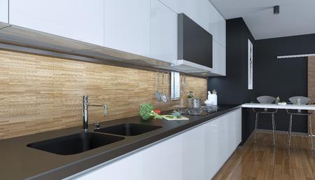 Keuken moderne stijl, 3D-beelden Stockfoto - 47512749