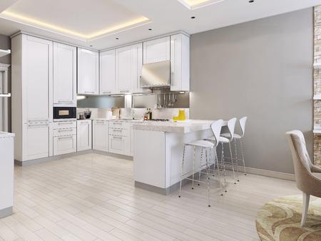 Küche im modernen Stil, 3D-Bilder Standard-Bild - 47512754