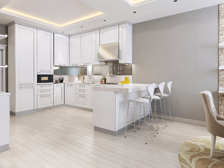 interior lighting: kitchen in modern style, 3d images
