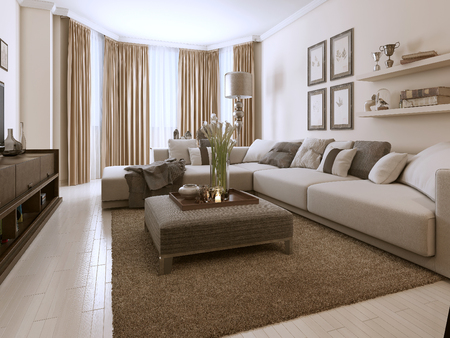 contemporary style: Living room in Contemporary style. 3D images