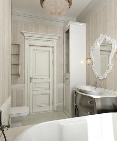 parfum: Bathroom classic style, 3d images Stock Photo