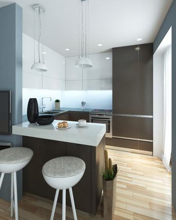 dark brown: kitchen modern style. 3D images