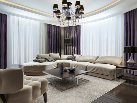 interior room: Living room in Art Deco style, 3d images Stock Photo