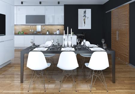 ダイニング キッチン モダンなスタイル、3 D 画像