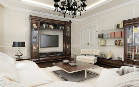 living room sofa: Living room in Art Deco style, 3d images Stock Photo