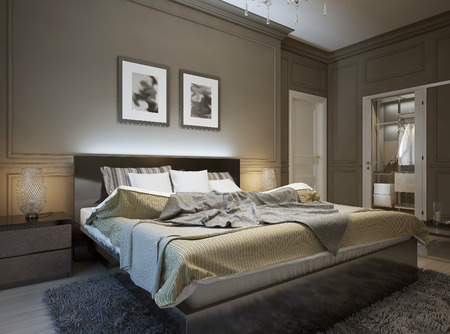 Bedroom interior in modern style, 3d images Imagens