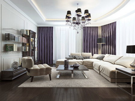 Living room in Art Deco style, 3d images Archivio Fotografico