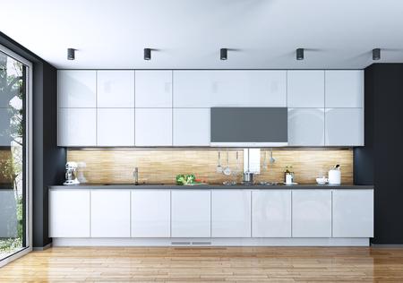 cucina moderna: Stile moderno Cucina, immagini 3D Archivio Fotografico