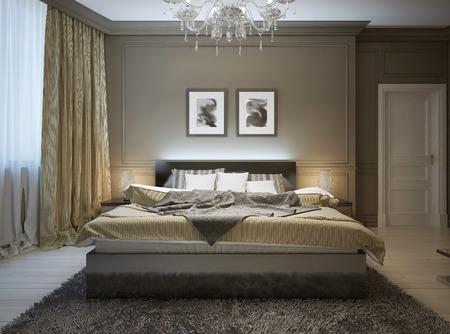 モダンなスタイル、3 d 画像で寝室のインテリア