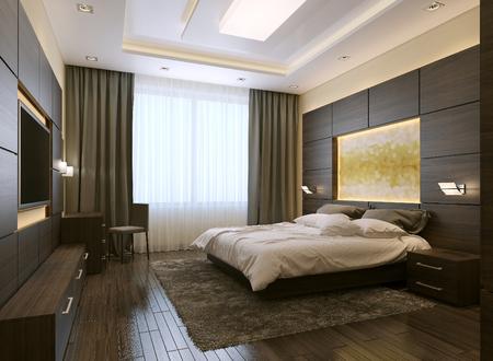 Sypialnia w nowoczesnym stylu, 3D obrazów