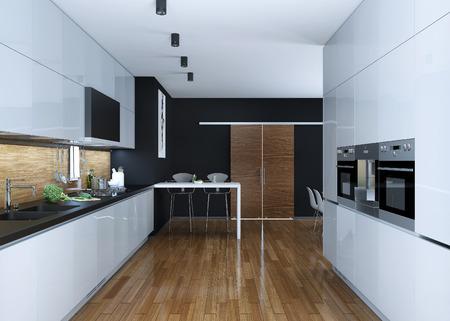Keuken moderne stijl, 3D-beelden Stockfoto