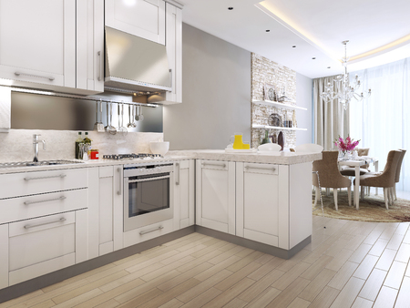 kitchen diner in neoclassical style, 3d images Foto de archivo