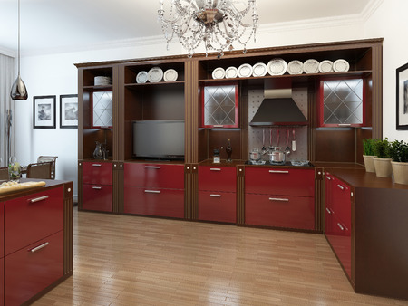 kitchen modern: Kitchen in the Art Deco style, 3d images