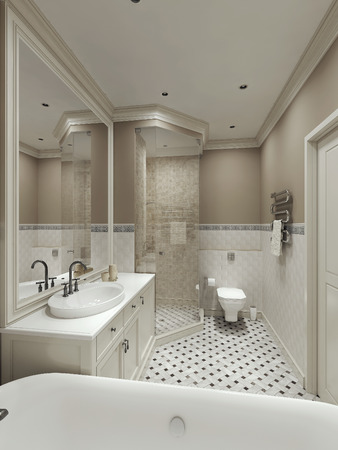 fittings: bathroom classic style, 3d images Stock Photo