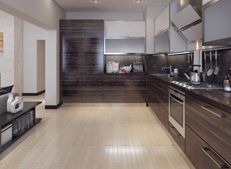 kitchens: Dining kitchen modern style, 3D images