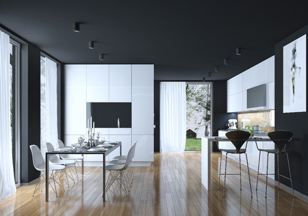black granite: Dining kitchen modern style, 3D images