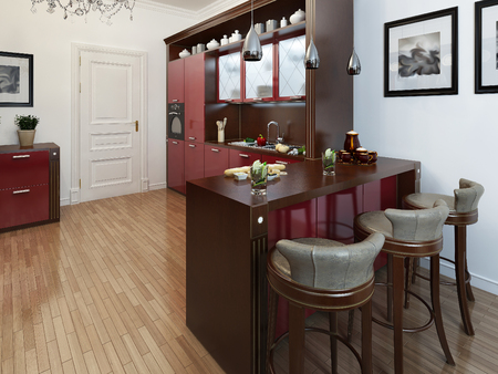 pilasters: Kitchen in the Art Deco style, 3d images