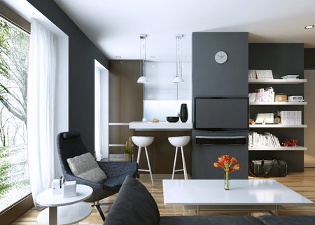 bar stool chair: Apartment study modern style. 3D images Stock Photo