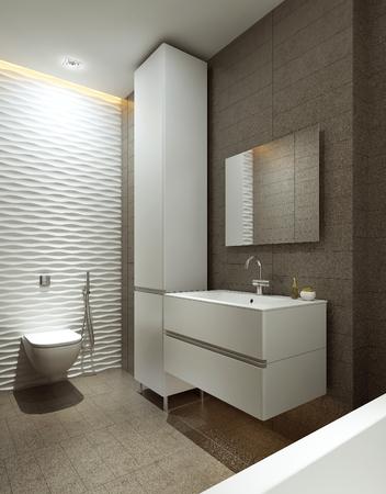 Badkamer moderne stijl, 3D-beelden