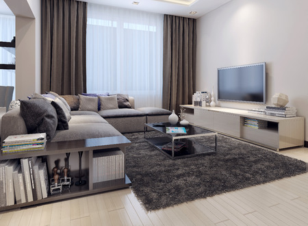 living room design: Living room contemporary style, 3D images