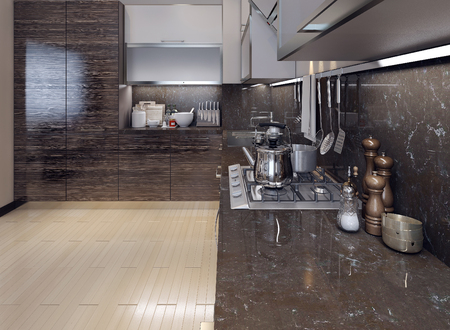 utencilios de cocina: Comedor de estilo moderno de la cocina, las imágenes en 3D Foto de archivo