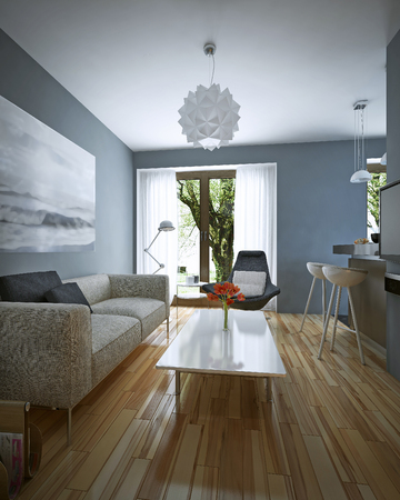 flooring: Living room modern style. 3D images Stock Photo