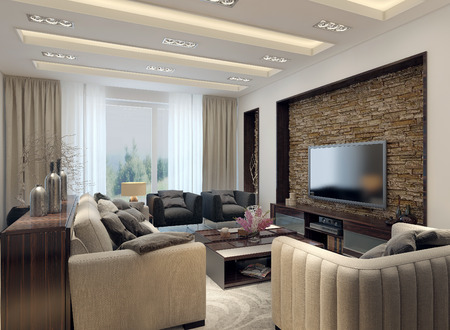 recessed: Living room modern style. 3D images Stock Photo