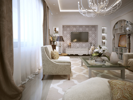 contemporary living room: Luxury Living in the Arab style. In bright colors. 3D render.