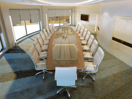 roman blind: Modern meeting room, 3d images