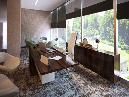 Moderne kantoor interieur. 3D-beelden