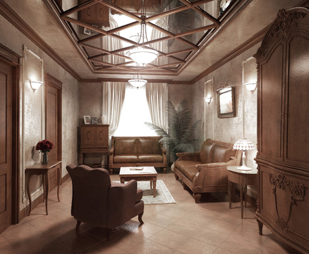 recreation room: Recreation room in classic style, 3d images Stock Photo