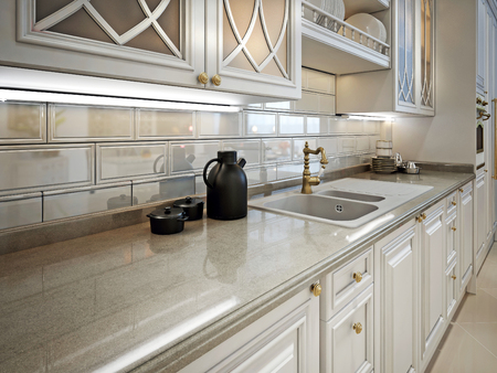 Kitchen furniture and marble work surface in a classic style. 3D render.