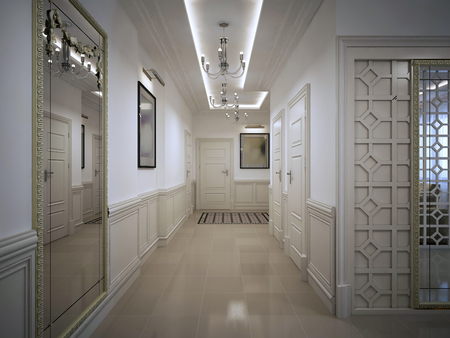 sconces: Hall corridor in classic style. 3d visualization
