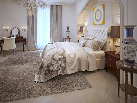 niches: Bedroom design in Arabic style with bright colors. 3D render.