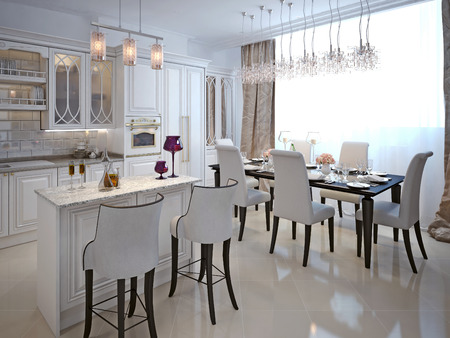 neoclassical: The kitchen-dining room in a classical style. The white color and chernomom. With bar and bar stools. 3D render.